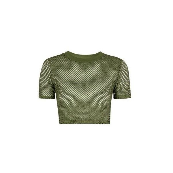 TopShop Petite Airtex Crop Tee ($26) ❤ liked on Polyvore featuring tops, t-shirts, khaki, sports t shirts, sport t shirt, crop top, green tee and sport crop top