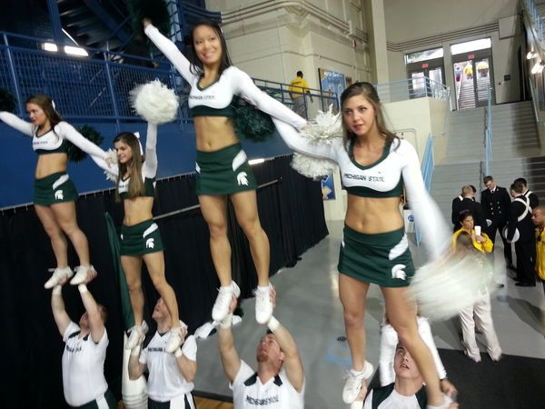 Excited too Michigan state spartans cheerleaders sorry, not
