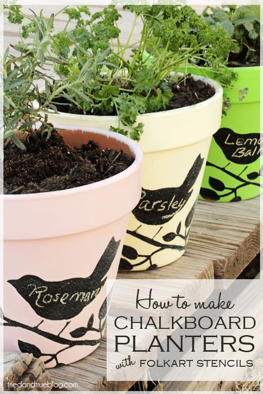 Chalkboard Planters with FolkArt Stencils and Paint | A Tried & True Project