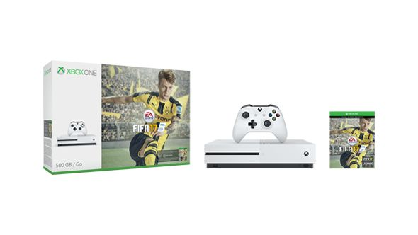 graphic of Xbox One S FIFA 17 Bundle 500 GB with game
