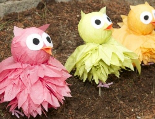 Tissue pom pom owl decorations