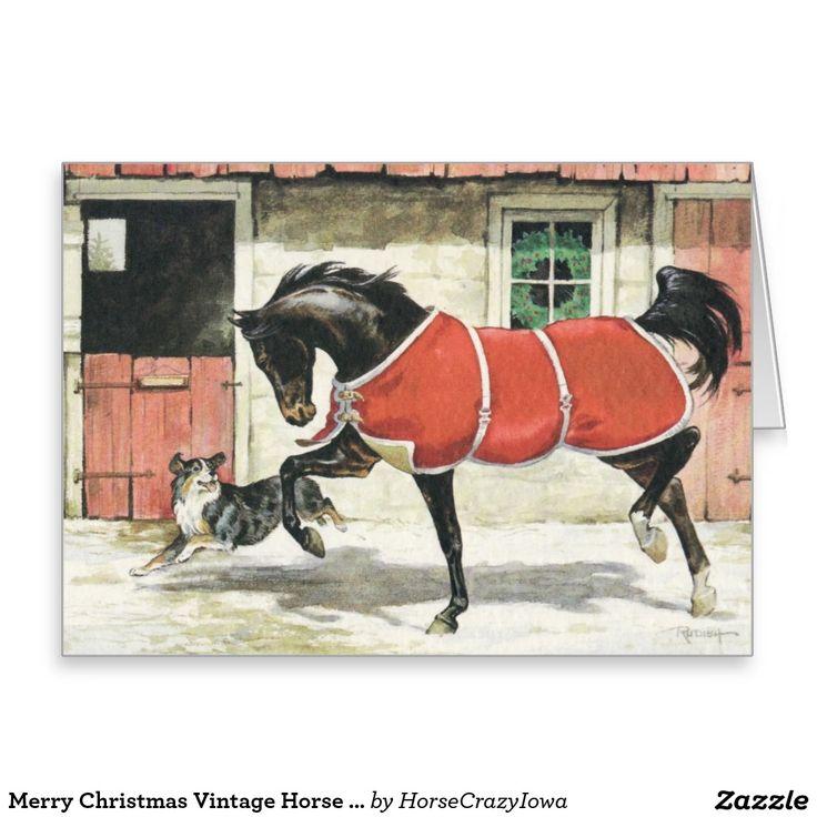 Het vrolijke Vintage Paard en de Hond van Kerstmis Wenskaart