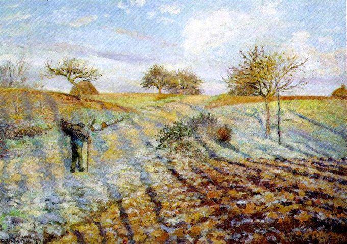 Камиль Писсарро. «Старая дорога из Аннери в Понтуаз. Заморозки». 1873 г.
