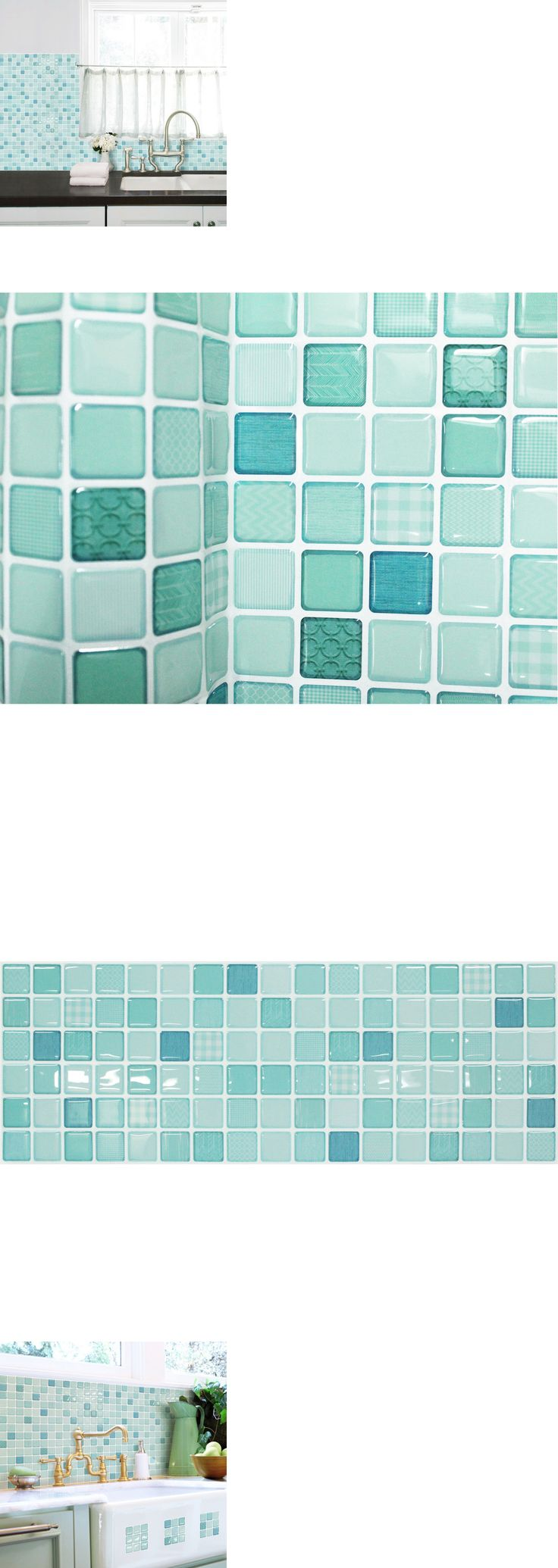 Floor and Wall Tiles 45800: Self Adhesive Wall Tiles Peel And Stick Backsplash Kitchen Wallpaper Green Blue -> BUY IT NOW ONLY: $35.9 on eBay!