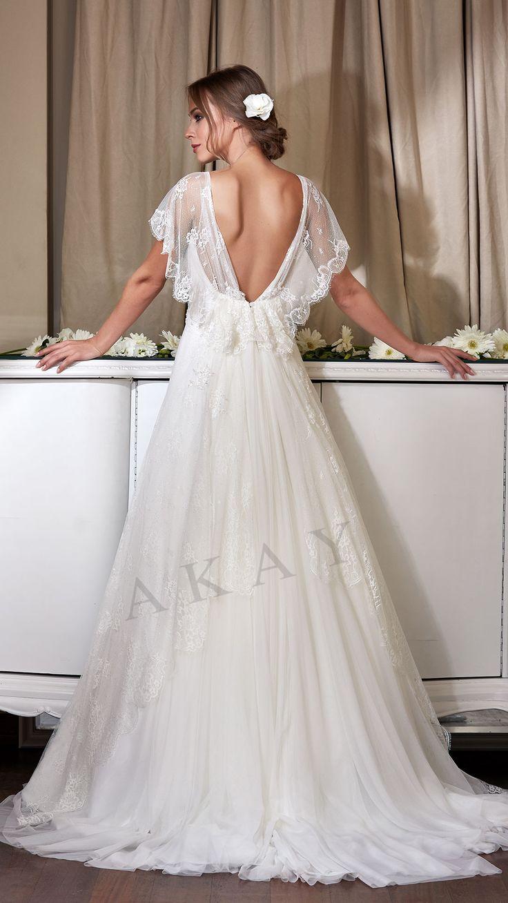 Model 16066 TULLE - LACE 2017 KOLEKSİYON BACK DEKOLTEE-A CUT Wedding Dresses