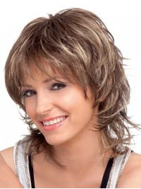 Cheap Brown Wavy Shoulder Length Synthetic Wigs