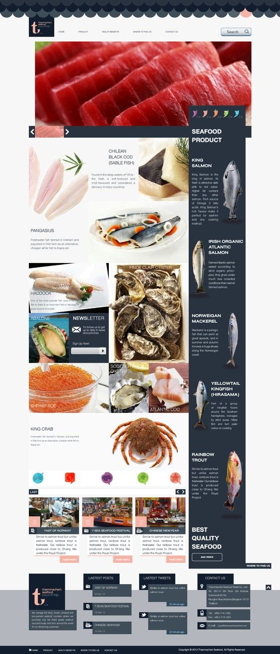 We absolutely love a product-driven website design such as this one. Can't you taste the freshness of that fish? #webdesign #product #photography