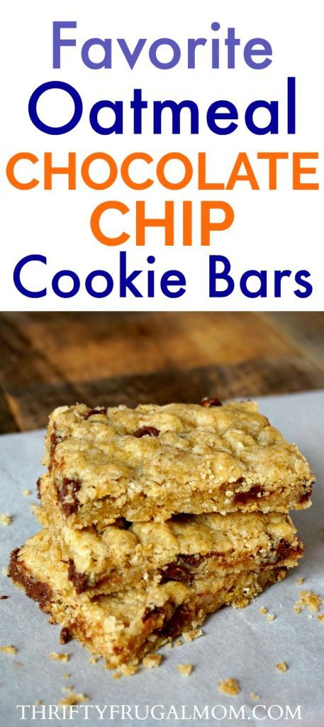 Oatmeal Chocolate Chip Bars (aka Davy Crockett Bars)