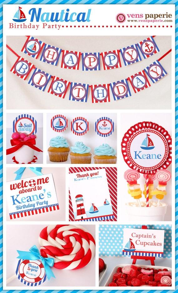 nautical birthday party , DIY printables by venspaperie