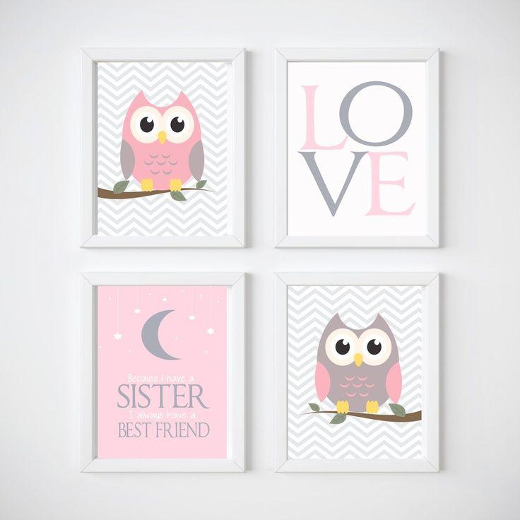 Owls Nursery Room Wall Decor, Print your own decor, Sister Print