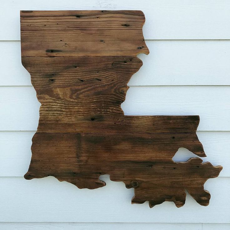 Reclaimed Wood Louisiana Sign Rustic State Outline