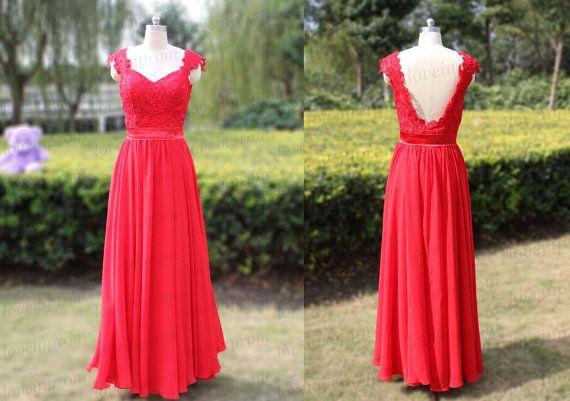 Long Prom DressRed Prom DressHandmade Chiffon by loveinprom