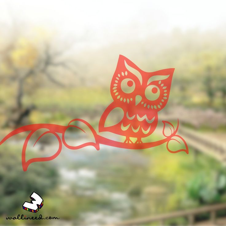 Owl On Branch  - Window Decal Translucent Decal
