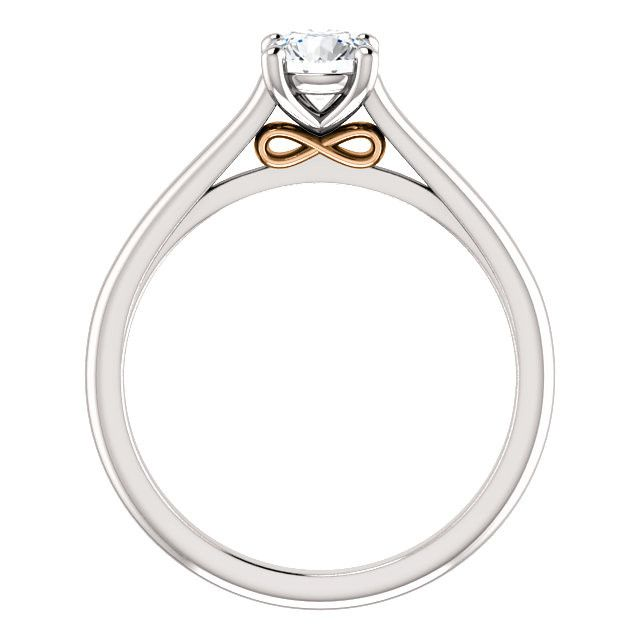 14kt White & Rose Gold Infinity Moissanite Promise Engagement Ring , - Sparkle & Jade - 1