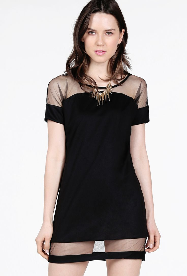 Black Contrast Sheer Mesh Yoke Loose Dress