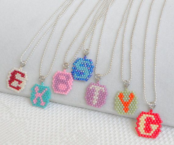 Custom color necklace Children's Initial Necklace Girl