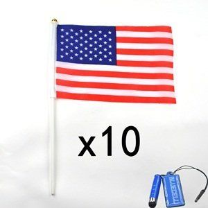 """Bluecell 10 Pieces 5"""" x 8"""" United States of America Flags USA American Stars and Stripes by Generic. $5.97. Packaged included: 10 pieces of US Flags. With Bluecell LCD cleaner + 1.5 inch mini stylus with 3.5mm earphone jack strap. Dimension: 5 x 8"""" flag with 12"""" pole. Material: Flag (Polyester), Pole (Plastic). This package included 10 pieces of 5 x 8 inch US flag."""