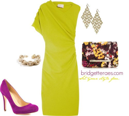 Chartreuse Dress - even sorta like the magenta shoe with it...
