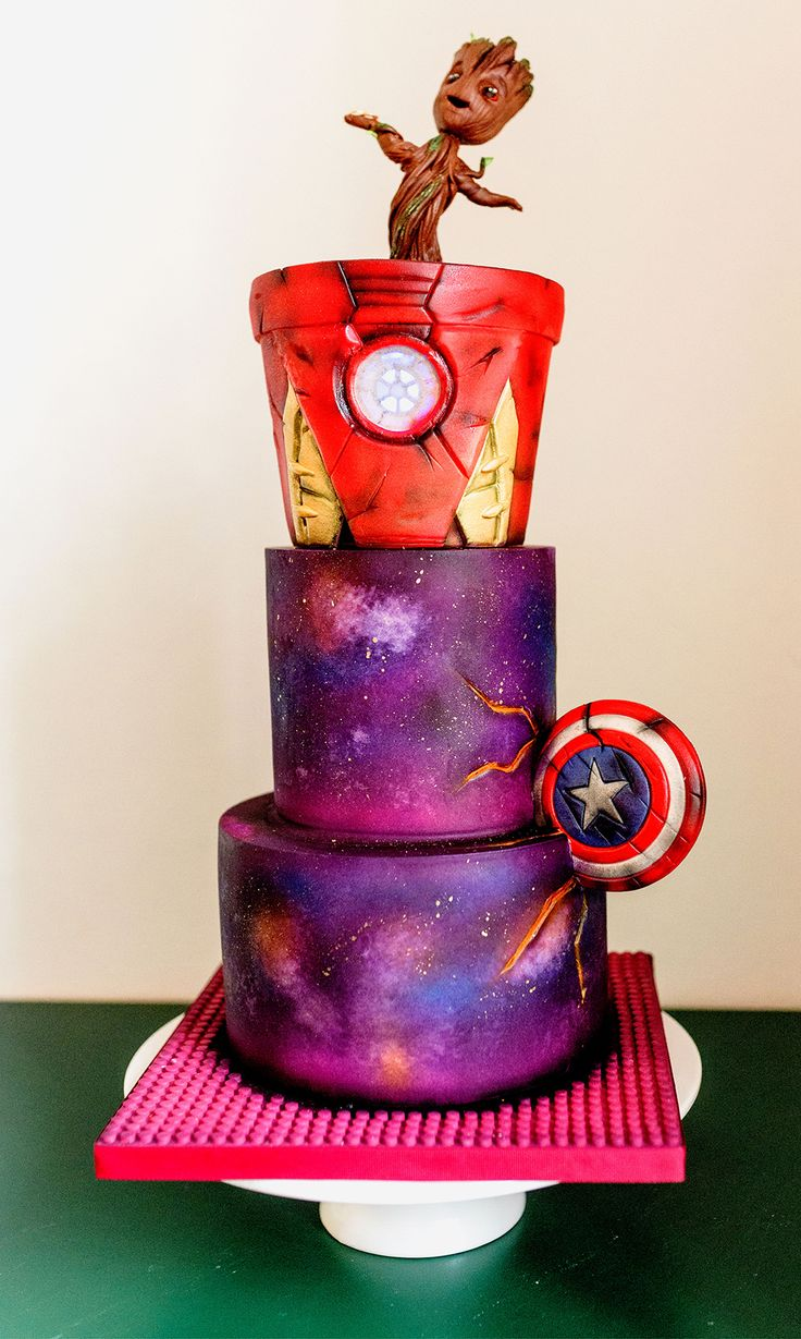 Marvel wedding cake with baby groot cake topper · Rock n Roll Bride – Wedding / Showers / Parties