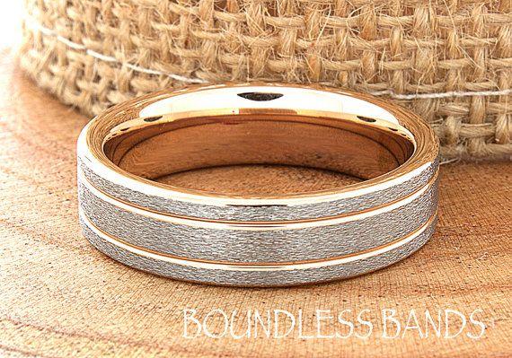 Rose goud trouwring Ring 6mm 18K Two Tone Man door BoundlessBands