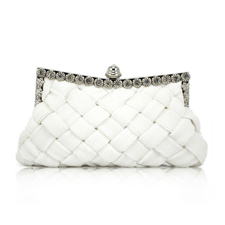 Wholesale 5* Elegant Ladies White Satin Bridal Evening Prom Clutch Handbag Purse Gift