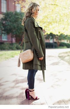 jeans-with-an-olive-coat-and-purple-sandals