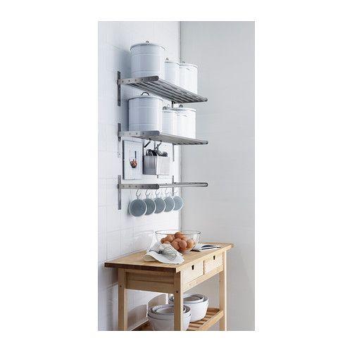 GRUNDTAL Wandplank IKEA Maakt werkruimte op het werkblad vrij. Kan ook worden gebruikt als dekselhouder. Ook te gebruiken in vochtige ruimte...