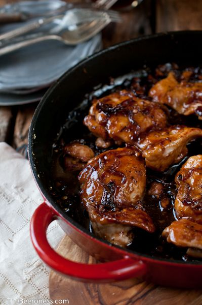 One Pot Honey Chili Beer Chicken by the beeroness #Chicken #Honey #Easy