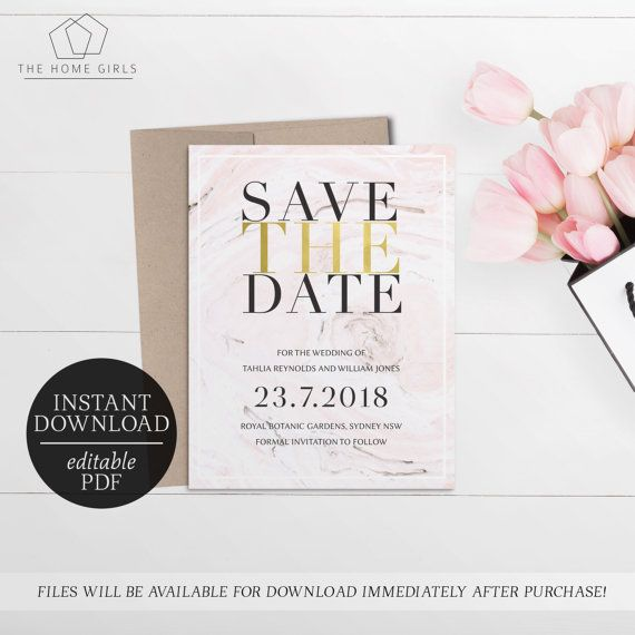Save The Date Marble Wash  Editable Template  Gold Foil