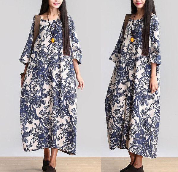 Mulheres de algodão de linho folgada longa Maxi Vestido Vestidos de manga curta de Verão - Buykud