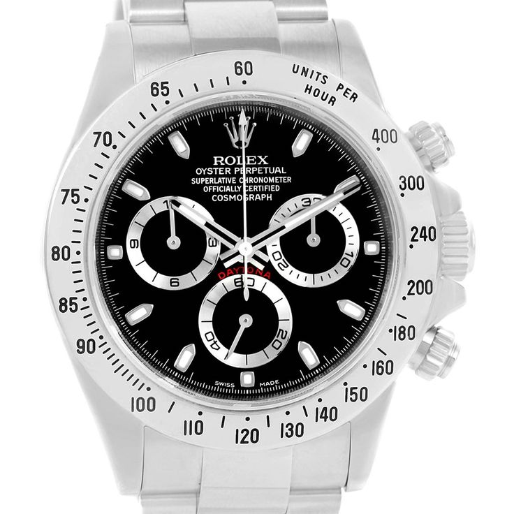 16769P Rolex Cosmograph Daytona Black Dial Chronograph Mens Watch 116520 SwissWatchExpo