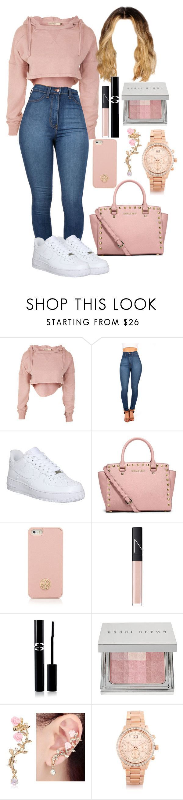 Untitled #35 by yaritzaj ❤ liked on Polyvore featuring NIKE, MICHAEL Michael Kors, Tory Burch, NARS Cosmetics, Sisley, Bobbi Brown Cosmetics and Michael Kors