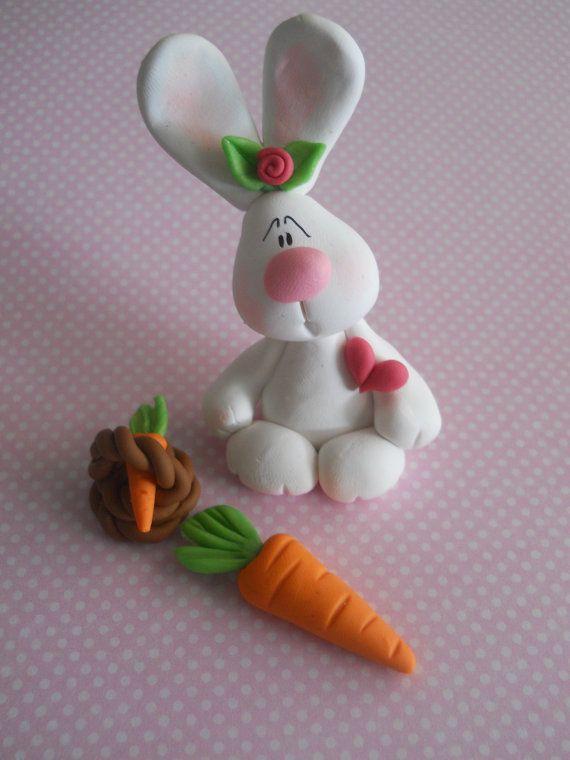 conejo con canasta y zanahoria adorables
