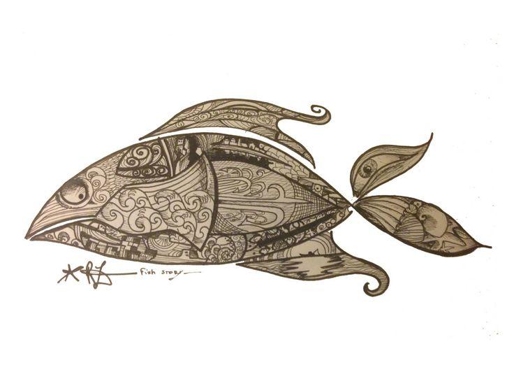 la mie esperienza con i pescatori siciliani racchiusa in un pesce ... disegno, schizzo,