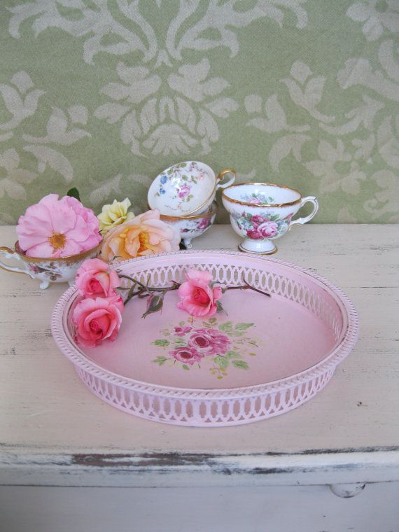 round serving tray vintage pink tray tea party tea parties vintage and pink. Black Bedroom Furniture Sets. Home Design Ideas