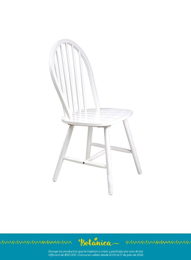 silla estilo country en tono blanco