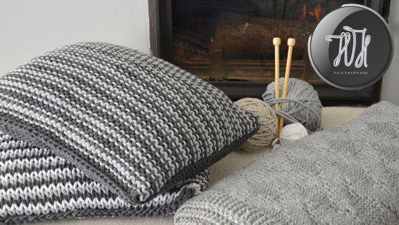 Handmade knitted pillow gray and dark gray