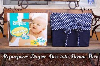 diaper box redo: Diaper Boxes, Crafts Ideas, Diapers Boxes, Storage Boxes, Toys Boxes, Denim Boxes, Smart Ideas, Storage Container, Crafty Ideas