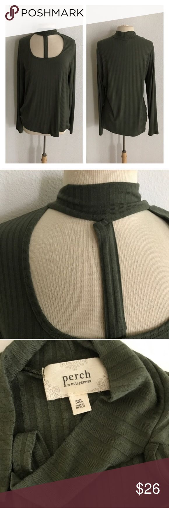 """NWOT Green strappy top *runs slightly small Strappy olive green top. Size 3x- runs slightly small and fits me perfectly as a 2x/16/18. Measures 28"""" long with a 42"""" bust. Super soft and very stretchy! Purchased by me from a local boutique and never worn. Brand new without tags. Please note: the strap has slightly separated from the neckline. It isn't visible when being worn, but it is slightly damaged.  💲Reasonable offers accepted ✅Bundle offers Blu Pepper Tops"""