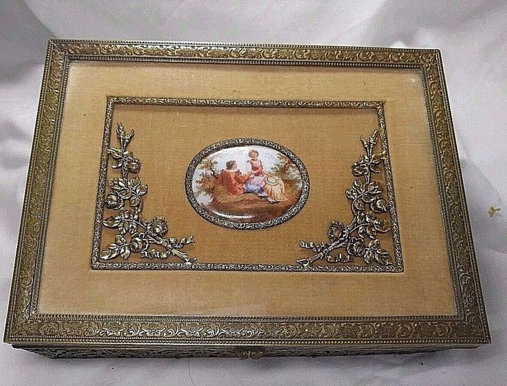 Antique French Bronze Brass Jewelry Box Porcelain Medallion Romantic Scene #French
