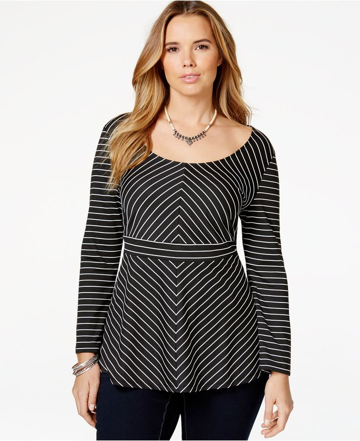 American Rag Plus Size Chevron-Print Peplum Top, Only at Macy's - Trendy Plus Sizes - Plus Sizes - Macy's