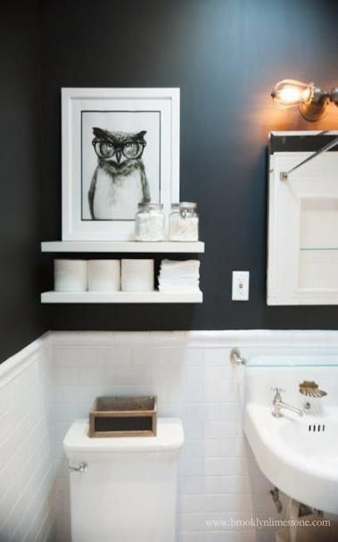 Bath room black and white shelves above toilet 24 Ideas for 2019   – Bath`s!!