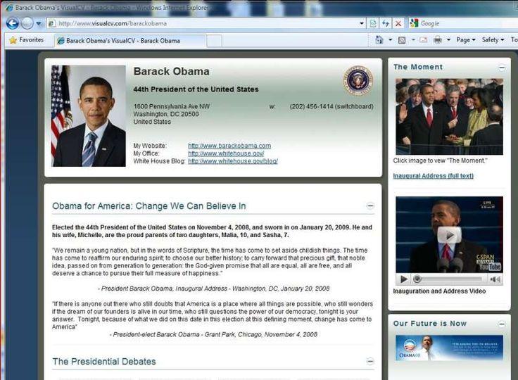 10 best Visual CV images on Pinterest Creative resume - barack obama resume