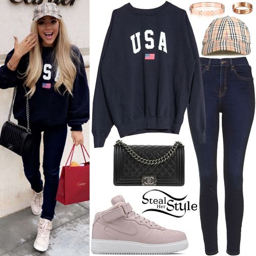 Gabriella DeMartino posted a picture on snapchat yesterday wearing a Brandy Melville Erica USA Sweatshirt ($35.00), Topshop Moto Dark Ink Jamie Jeans ($70.00) a a Chanel Quilted Lambskin Leather Medium Boy Bag ($6,760.00 – preowned), a Burberry Haymarket Check Cap (Sold Out), a Louis Vuitton Nanogram Cuff ($660.00), a Cartier LOVE Pink Gold Ring ($1,650.00) and sneakers similar to the Nike Air Force 1 Mid Nikelab ($165.00).