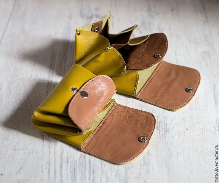 Купить Кошелек из кожи - горчица - кошелек, кошелек из кожи, кошелек ручной работы, кошелек женский