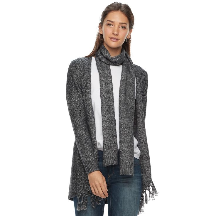 Women's SONOMA Goods for Life™ Scarf & Cardigan, Size: Medium, Dark Grey