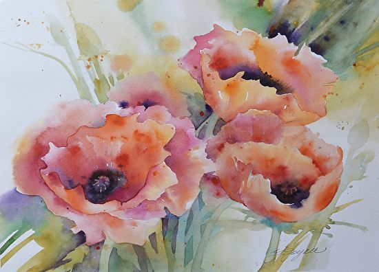 Poppies by Yvonne Joyner Watercolor ~ 16 in including mat x 20 in. including mat