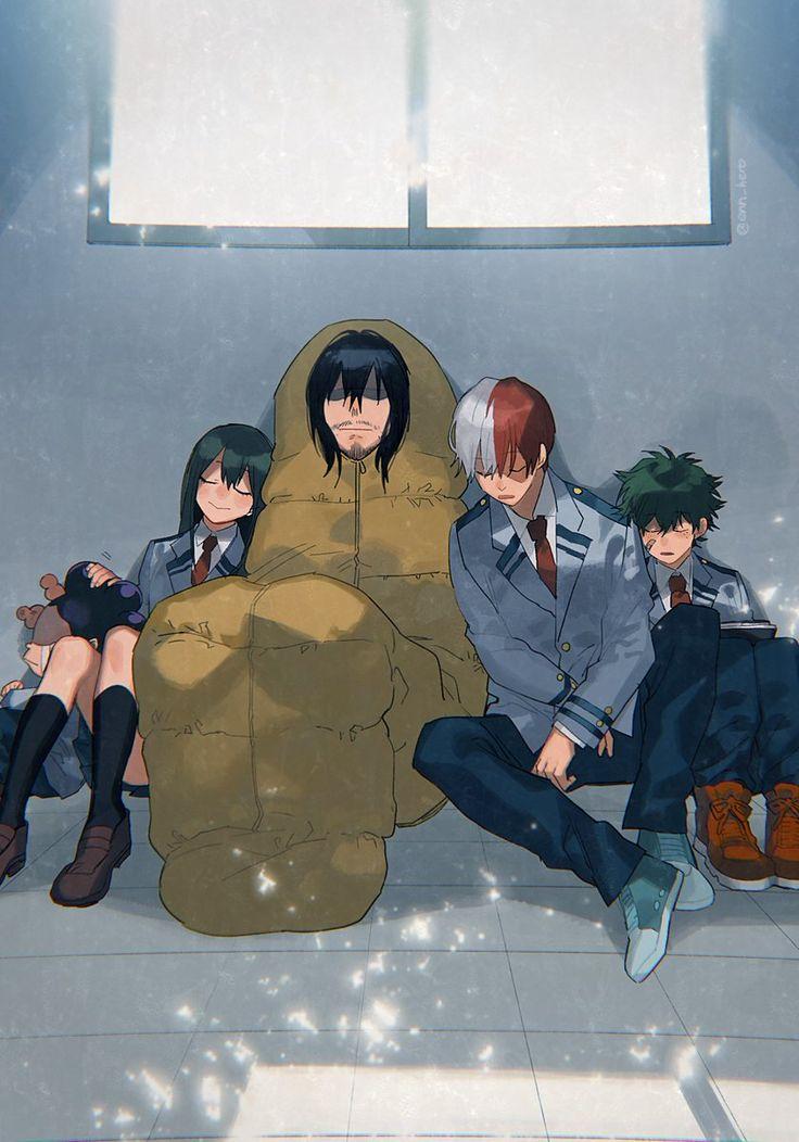 Boku no Hero Academia    Mineta Minoru, Tsuyu Asui, Aizawa Shouta, Todoroki Shouto, Midoriya Izuku.