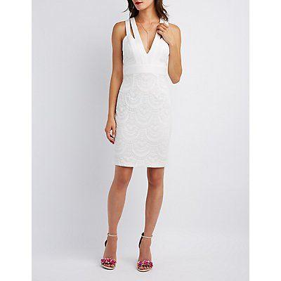 White Lace Cut-Out Bodycon Dress - Size XS