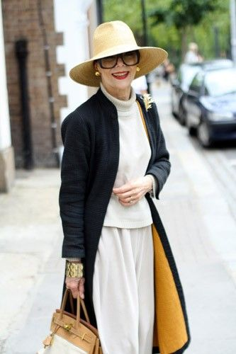 """Stylin' 70-Year-Olds: Fashion's New It Girls! #refinery29 http://www.refinery29.com/70s-style-stylish-70-year-old-women#slide-4 """"Gitte Lee modeled when she was very young and was recently rediscovered and cast in the Céline campaign. She likes to wear the same style outfit in different materials and colors depending on the weather."""""""
